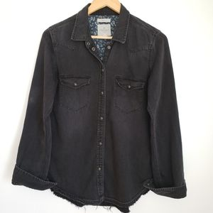 American Eagle Outfitters Distressed Denim Shirt M